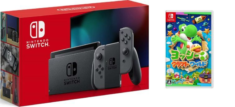 画像1: Nintendo Switch Joy-Con (L) / (R) グレー+ヨッシークラフトワールド【新品】
