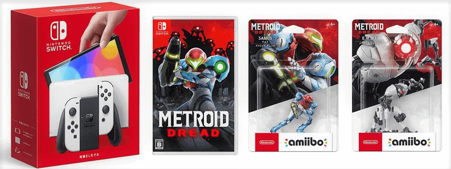 画像1: Nintendo Switch(有機ELモデル) Joy-Con(L)/(R) ホワイト+メトロイド ドレットセット【新品】